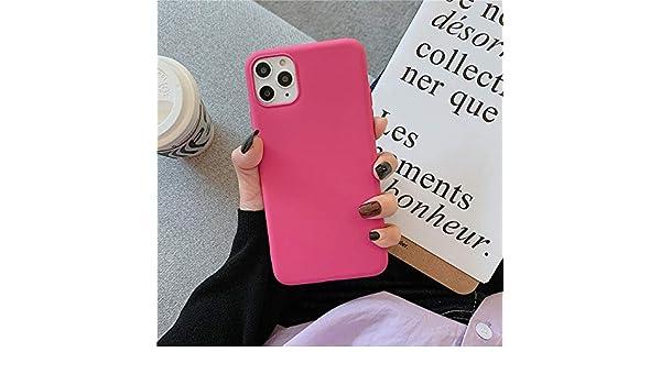 YHWW Carcasa de telefono,Estuche Superior para teléfono para iPhone 11 Pro X XR XS MAX 7 8 6 6s Plus Estuche Mate de Color sólido Caramelo Funda Trasera de TPU Suave, Rosa