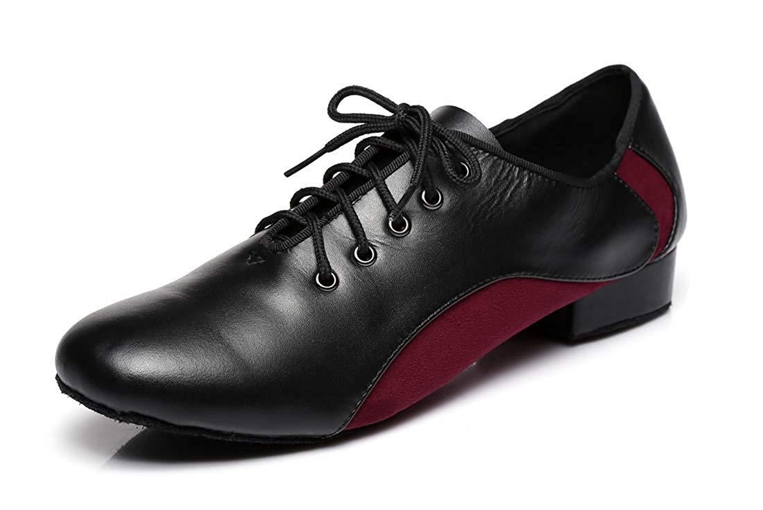 Herren Schnürschuhe 1 Standard Heel Leder Wildleder Ballroom Latin Dance Schuhe (Farbe   Blakc rot, Größe   9.5 UK)