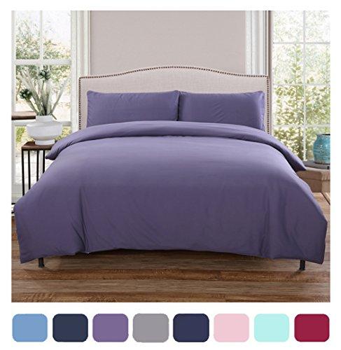 Moreover 4-Piece Purple Bedding Sets, Solid Color Bedding, Microfiber Duvet Cover Sets Full Size