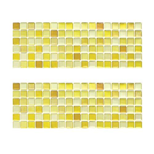 Beaustile Yellow Blossom Mosaic 3D Wall Stickers 2 Sheets Home Decor Art Fire Retardant Backsplash Wallpaper Bathroom Kitchen DIY