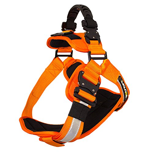 Fusion Pets Trekker Adjustable Hi-Vis Military Tactical Police K9 Ergonomic Reflective Strip Dog Harness Hunting Guard Canine Large Orange by Fusion Pets