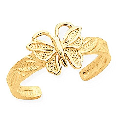Lex & Lu 14k Yellow Gold Butterfly Toe Ring ()