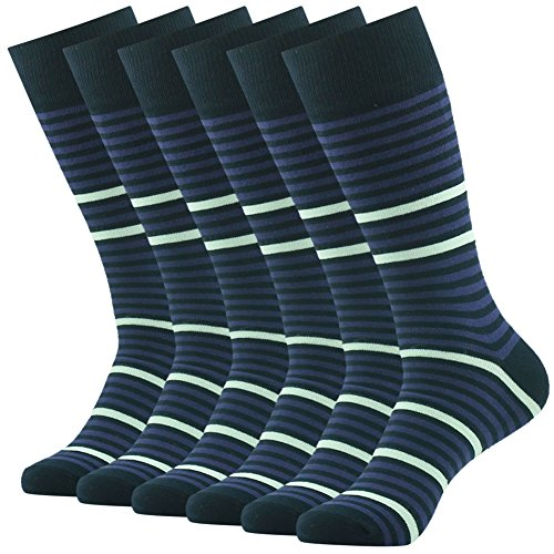 Business Office Suit Socks, SUTTOS Mens Fashion socks Mens Boys Classics Black Striped Design Stay Up Cotton Knit Mid Calf Long Tube Crew Novelty Father's Day Socks Socks Business Gifts,6 Pairs