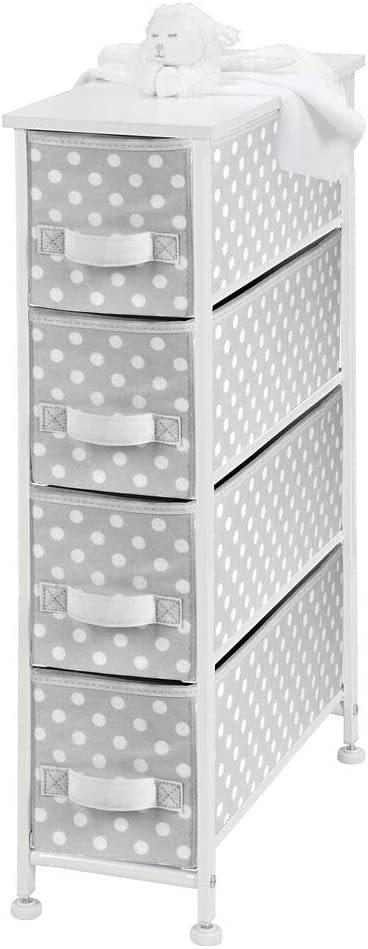 mDesign Narrow Vertical Dresser Drawers - Sturdy Steel Frame, Wood Top, 4 Easy Pull Fabric Bins - Organizer Unit for Child/Kids Room or Nursery - Polka Dot Pattern - Gray with White Dots