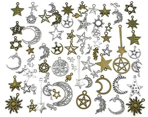 73pcs Sun Moon Star Charm Pendant for DIY Necklace Bracelet Jewelry Making Findings(Silver&Bronze Tone)