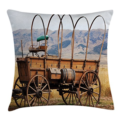 Ambesonne Western Throw Pillow Cushion Cover, Photo of Old Nostalgic Wild West American Cart Carriage in The Farm Texas Style, Decorative Square Accent Pillow Case, 16 X 16 inches, Brown Yellow