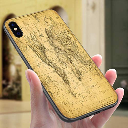Creative iPhone Case for iPhone 7/8vintage map of The World 1831 Resistance to Falling, Non-Slip,Soft,Convenient Protective Case