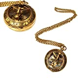 Pocket Compass Shiny Brass Sundial Compass With Chain Lover Gift