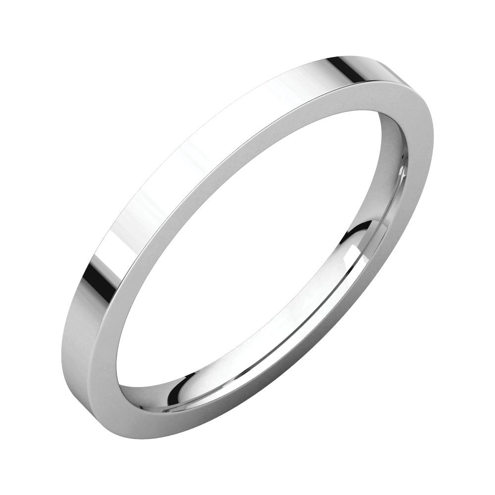 18K White Gold 2mm Flat Comfort Fit Band