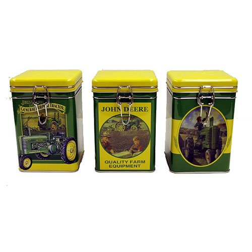 Tin Box John Deere Square Lock Top Tin Set