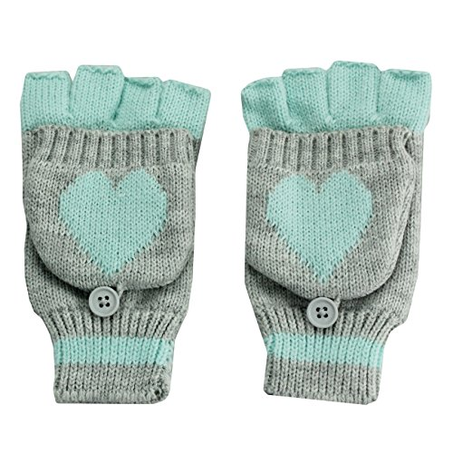 Nolan Girls Heart Fingerless Gloves / Cuff Winter Snow Mittens Aqua Heart 4-14