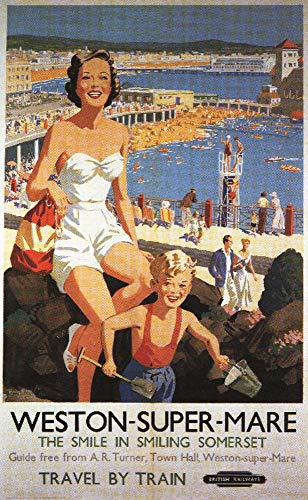Weston, England - Mother and Son on Beach Railway - Vintage Travel Poster (16x24 Fine Art Giclee Gallery Print, Home Wall Decor Artwork Poster) ()