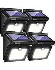 Luce Solare Esterno, BAXiA 82LED 2400mAh Lampada Solare con Sensore di Movimento, Impermeabile IP65 Luci Solari da Parete Lampade Solari Esterno di Sicurezza per Giardino,Patio