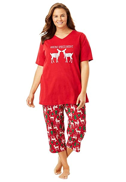 60e0a17f0307 Dreams   Co. Women s Plus Size 2-Piece Capri Pj Set at Amazon ...