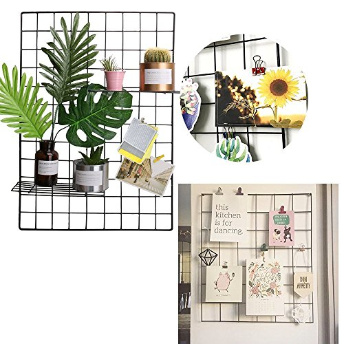 Painted Wire Wall Grid Panel, Multifunction Photo Hanging Display and Wall Art Picture Wall Storage Organizer, Pack of 2, Size 25.6x17.7inch
