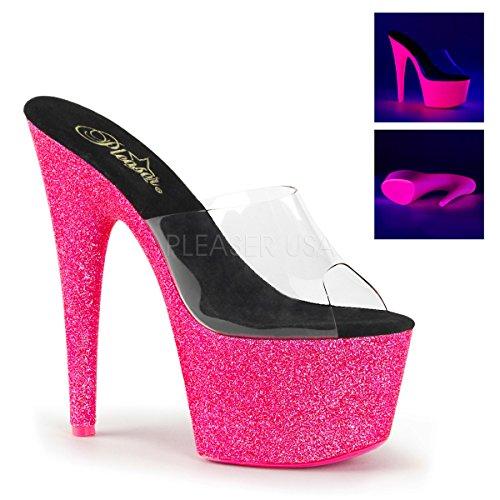 (Pleaser ADO701UVG/C/NHPG Women's Platform Dress Sandal, Clear/Neon/Pink Glitter, 7 M US)