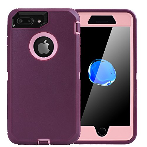 iPhone 8 Plus/7 Plus Case, AICase [Heavy Duty] [Full Body] Tough 4 in 1 Rugged Shockproof Cover with Built-in Screen Protector for Apple iPhone 8 Plus/7 Plus (Pink/Purple) ()