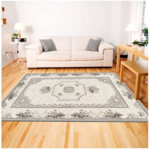 Superior Annalise Collection Area Rug, 8mm Pile Height with Jute Backing, Beautiful French Traditional Aubusson Rug Design, Fashionable and Affordable Woven Rugs – 8 x 10 Rug