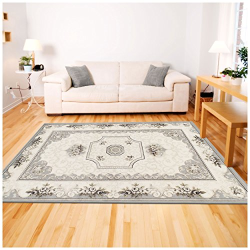 Superior Annalise Collection Area Rug, 8mm Pile Height with Jute Backing, Beautiful French Traditional Aubusson Rug Design, Fashionable and Affordable Woven Rugs - 8' x 10' Rug (Aubusson Traditional Area Rugs)