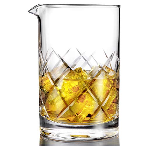 24% Lead Crystal Glass - Professional Cocktail Mixing Glass - Thick Bottom Seamless Lead Free Crystal Mixing Glass 24oz (700ml)