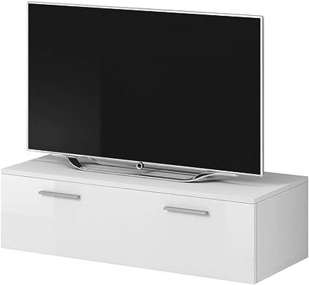 E-com Mueble para TV Boston, Color Blanco Mate y Frontal Blanco Brillante (100 cm): Amazon.es: Hogar