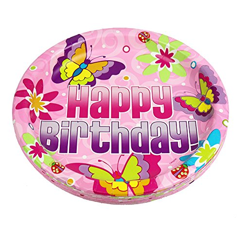 10.25 Inch Pink Happy Birthday Dinner Plates, Butterfly Birthday Paper Plate (36 Count)
