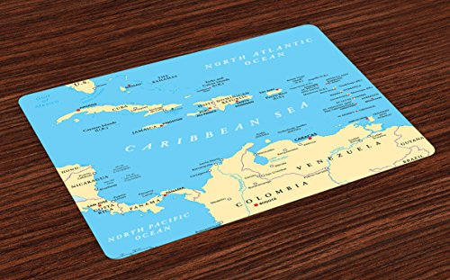 Caribbean Home Decor - Ambesonne Wanderlust Place Mats Set of 4, Caribbean Political Map Capitals National Borders Important Cities Rivers Lakes, Washable Fabric Placemats for Dining Room Kitchen Table Decor, Blue Ivory