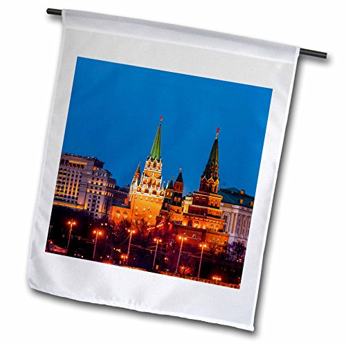 3dRose Alexis Photography - Moscow Kremlin - Moscow Kremlin. Trinity, left, Borovitskaya, right, red star towers - 18 x 27 inch Garden Flag (fl_272318_2) - Star Right Tower
