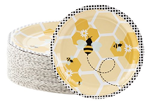 Disposable Plates - 80-Count Paper Plates, Bumble Bee Party Supplies for Appetizer, Lunch, Dinner, and Dessert, Kids Birthdays, 9 x 9 inches (Bee Bumble Dinnerware)