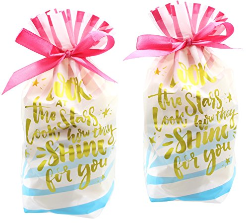 Zealax 15pcs Treat Bags Printed Shiny Gold Letters Gift Wrapping Drawstring Plastic Goodies Package Bags, 6 inches x 9 inches Holiday Treats Gift
