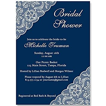 bridal shower invitations lace navy blue white navy blue wedding