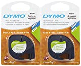 Dymo 10697 Self-Adhesive White Paper Labeling Tape for LetraTag, 2 Blister Packs (4 Refills), Black on White, 1/2-Inch Wide x 13 Feet Long