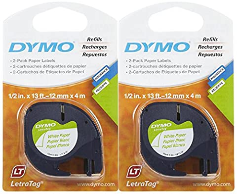 Dymo 10697 Self-Adhesive White Paper Labeling Tape for LetraTag, 2 Blister Packs (4 Refills), Black on White, 1/2-Inch Wide x 13 Feet - Dymo Letratag 10697 Paper Tape