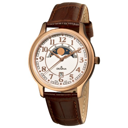 Grovana Men's 1026.1563 Moonphase Brown Strap Rose Goldtone Moonphase Watch
