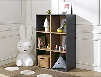 Soldes Alfred & Compagnie - BIBLIOTHEQUE 6 CASES DE RANGEMENT ANTHRACITE 100x68x35