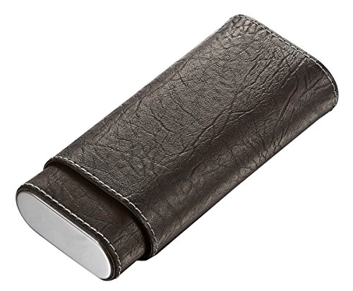 Leather Hard Cigar Case - Visol Russell Tobacco Leaf Patterned Brown Leather Cigar Case