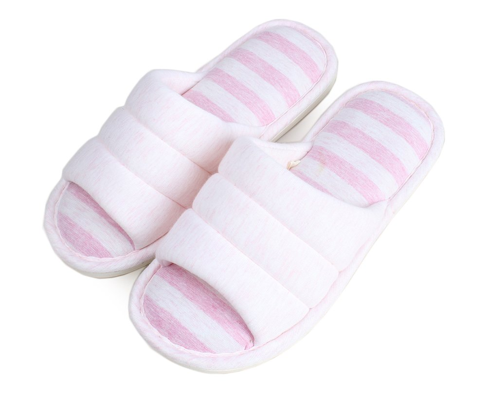 FhiFA Men's Indoor Knitted Cotton Home Flat Skidproof House Slippers Pink Small(for US Men 7.5-8.5)