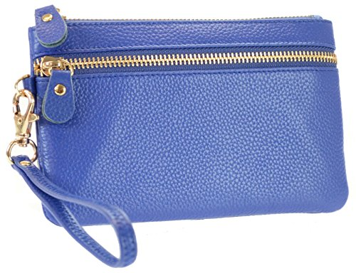 R&R Collection Women's Genuine Leather Wristlet Clutch Pouch (Blue) by R&R Collection