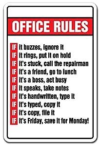 Amazon Com Office Rules Novelty Sign Gift Boss Monday