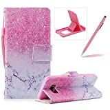 Wallet Case for Samsung Galaxy S8 Plus,Bookstyle Strap Portable PU Leather Flip Smart Cover for Samsung Galaxy S8 Plus,Herzzer Fashion Premium [Pink Marble Pattern] Magnetic Holster Card Holder Stand Leather Protective Mobile Skin with Soft Inner for Samsung Galaxy S8 Plus + 1 x Free Pink Cellphone Kickstand + 1 x Free Pink Stylus Pen