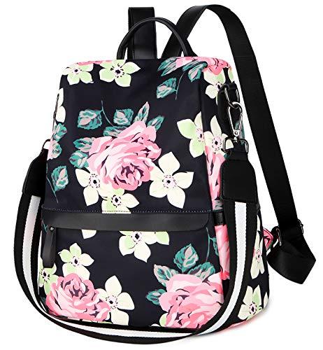 Drawstring Shoulder Bag Floral (Backpack Purse for Women Floral Shoulder Bag Anti-theft Rucksack Lightweight Water-resistant Travel Daypack)