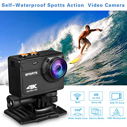 Sports Action Camera 4K Wifi,Waterproof Digital Sports Video Recorder Camera with 150°Wide Angle And Mounting Accessories Kit Yasolote