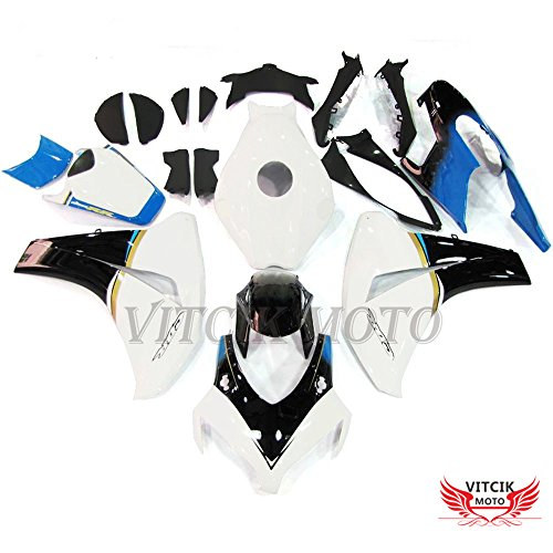 Fit for Honda CBR1000RR 2008 2009 2010 2011 CBR1000 RR 08 09 10 11) Plastic ABS Injection Mold Complete Motorcycle Body Aftermarket Bodywork Frame (White & Blue) A082 ()