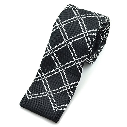 PenSee Casual Mens Classic Black & White Plaids Slim 2.16