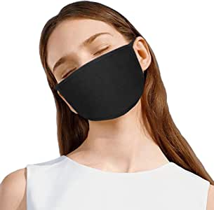 KISSBUTY 2 Pack Unisex Black Mask Dust Wind Sun Protective Mask for Adults 3 Layers Cotton (2)