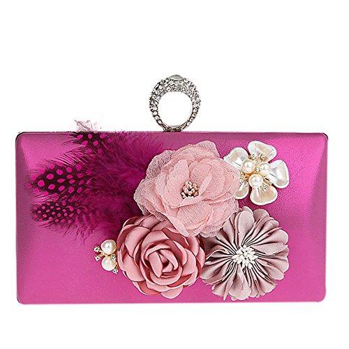 TOOKY - Bolso mochila  de aleación para mujer rosa roja