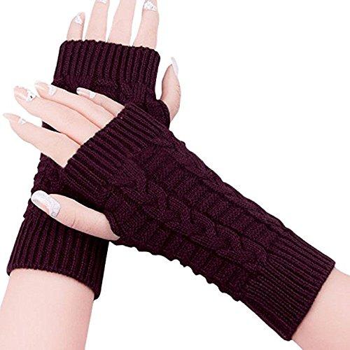 ZHIHONG Women Ladies Winter Warm Knitted Fingerless Gloves Hand Wrist Warmer Mitten (Wine Red)