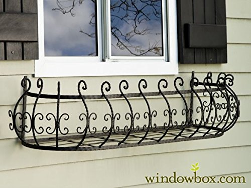 48 inch Parisian Window Box Planter (Wrought Iron Window Flower Boxes)