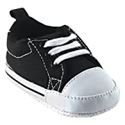 Luvable Friends Basic Canvas Sneaker (Infant), Black, 0-6 Months M US Infant