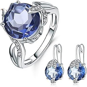AdronQ® Juego de pendientes de plata de ley 925 pura con piedras de cuarzo místico azul ballet gema natural